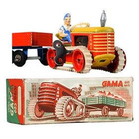 c.1954 GAMA, 66/5 Tractor with Trailer in Original Box