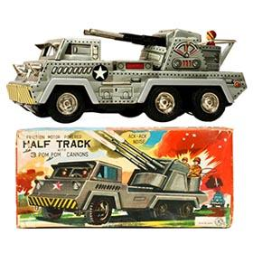 c.1958 Sankei Half Track w/3 Pom Pom Cannons in Original Box