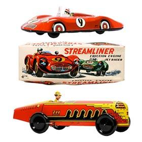 1941 Marx Giant King Racer & c.1960 Ichimura Streamliner Jet Racer in Original Box