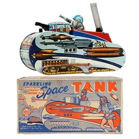 1953 Marx, Rex Mars Sparkling Space Tank in Original Box