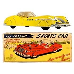 1956 Marx, The Falcon Friction Sports Car (Yellow) in Original Box