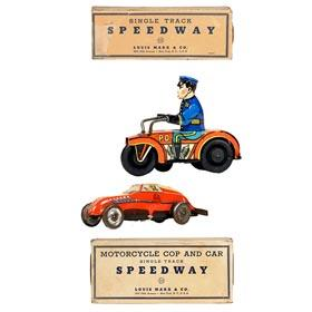 c.1938 Marx, Motorcycle Cop and Car (Red) Speedway in Original Box