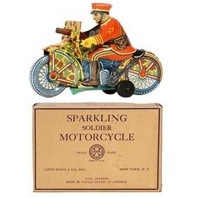 c.1940 Marx, Sparkling Soldier Motorcycle in Original Box