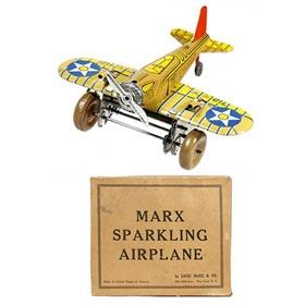 1939 Marx, U.S. Army Sparkling Airplane in Original Box