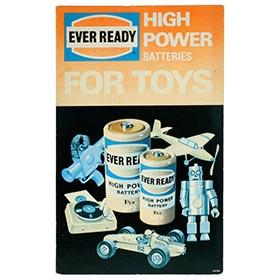 c.1965 Ever Ready Batteries Toy Counter Display Sign