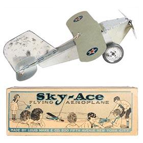 c.1926 Marx, Sky-Ace Flying Aeroplane in Original Box