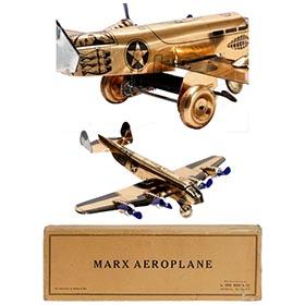 c.1938 Marx, Copper Bomber Aeroplane in Original Box