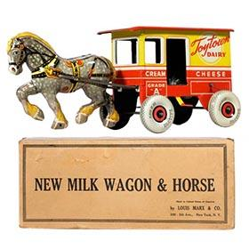 1938 Marx, Toytown Dairy Milk Wagon & Horse in Original Box