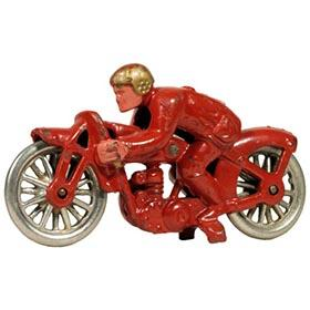 c.1933 Hubley, Cast Iron Hill Climber #7 Motorcycle Red