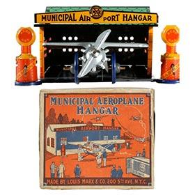 1929 Marx, Municipal Aeroplane Hangar in Original Box