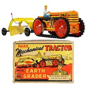 1950 Marx Mechanical Tractor with Earth Grader in Original Box