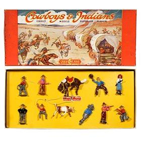 c.1948 Crescent Toys, 11pc. Cowboys & Indians in Original Box