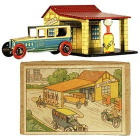 c.1927 Distler, Gas Station Set Penny Toy with Illustrated Box