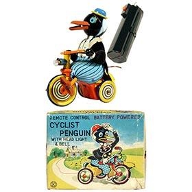 c.1955 Ohta, Battery Operated Cyclist Penguin in Original Box