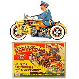 1933 Unique Art Mfg., DareDevil Motor Cop in Original Box