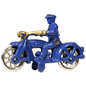 c.1933 Hubley, Cast Iron Blue and Gold Motorcycle Cop