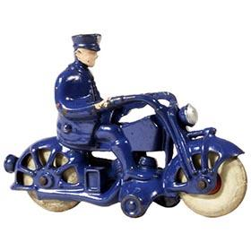 c.1935 A.C. Williams, Blue Cast Iron Motorcycle Cop