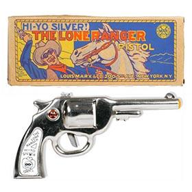 c.1946 Marx, The Lone Ranger Clicker Pistol in Original Box