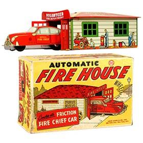c.1949 Marx, Automatic Fire House in Original Box