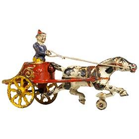 c.1906 Hubley, Cast Iron Horse Drawn Clown Chariot