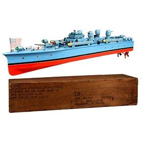 c.1950 Doshinsha, Battery Operated Naval Destroyer in Original Crate