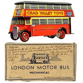 1951 Chad Valley, Carr's London Bus Biscuit Tin in Original Box