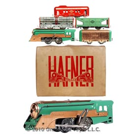 1939 Hafner, Copper Plated Clockwork Train Set In Original Box