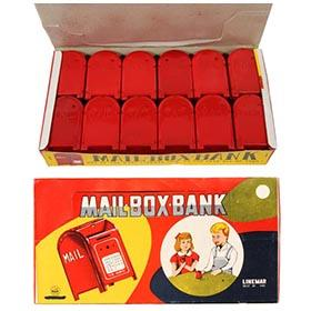 c.1960 Linemar Set of 12 U.S. Mail Box Banks in Original Box