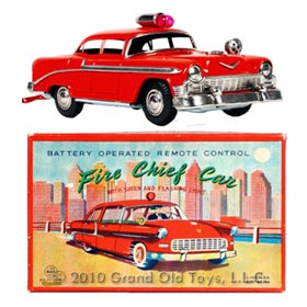 1956 Linemar Chevrolet Bel Air Fire Chief Car In Original Box