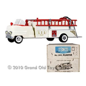 1960 Structo No. 603 White Fire Pumper Truck In Original Box