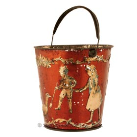 c.1900 Childrens Victorian Red Sand Pail with Bail
