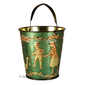 c.1900 Children's Victorian Green Sand Pail with Bail