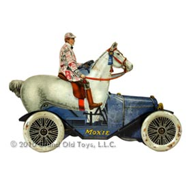 1917 Moxie Blue Horsemobile Tin Litho Product Display