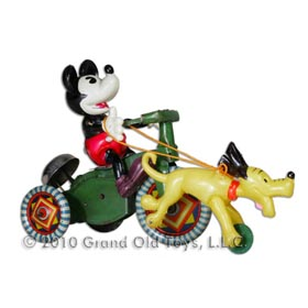 c.1933 Mickey Mouse On Tricycle with Pluto Running