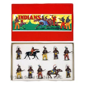 c.1939 10pc. Pre War Cast Lead Indians Set