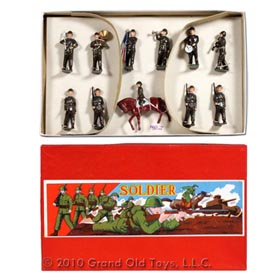c.1938 11pc Hand Painted Soldier Set In Original Box
