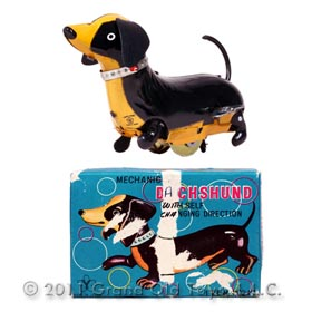 c.1958 Yonezawa Mechanical Dachshund In Original Box