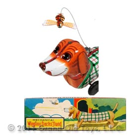 c.1957 Suzuki Edwards, Mechanical Wiggling Dachshund In Original Box