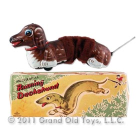 c.1955 Daiya Mechanical Running Dachshund In Original Box