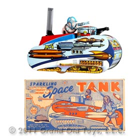 1953 Marx Rex Mars Sparkling Space Tank In Original Box