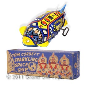 1952 Marx Tom Corbett Sparkling Space Ship In Original Box