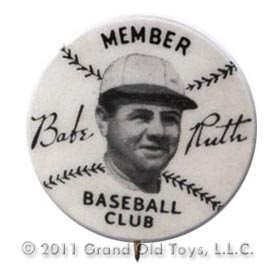 1934 Babe Ruth Quaker Cereals Baseball Club Cello Pin