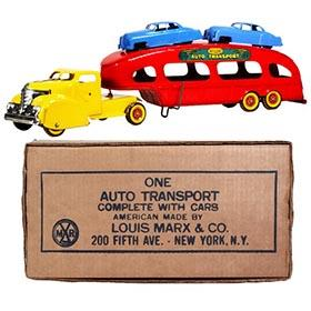 1951 Marx Deluxe Auto Transport w/Two Cars in Original Box