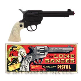 c.1955 Marx Lone Ranger Flashlight Pistol In Original Box