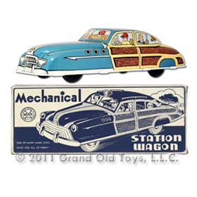 c.1949 Marx Mechanical Woody Station Wagon In Original Box