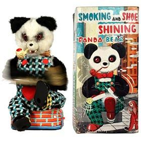 c.1959 Alps, Smoking & Shoe Shining Panda Bear in Original Box