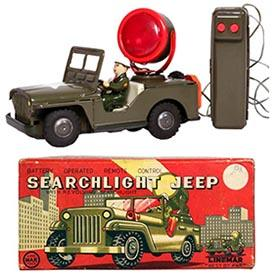 c.1955 Linemar, Searchlight Jeep Original Box