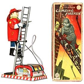 c.1950 Linemar Battery Operated Climbing Fireman in Original Box
