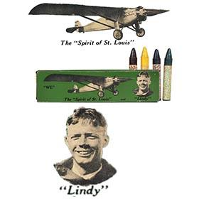c.1935 Spirit of St. Louis & Lindy Tin Box with Crayons