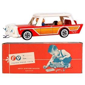 1960 Fisher-Price #234 Nifty Station Wagon in Original Box